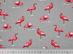RESTSTÜCK 62 cm Leinen Viskose Flamingos grau
