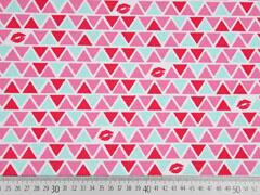 Jersey Dreiecke Kiss, pink rosa mint