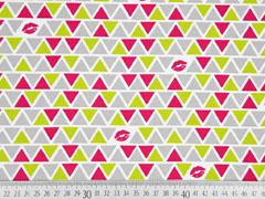 Jersey Dreiecke Kiss, grau gelbgrün