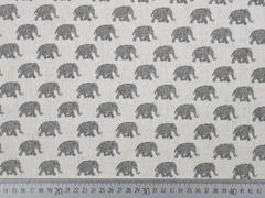 Leinen Viskose Elefanten, ecrue schwarz
