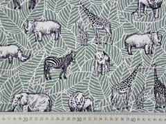 RESTSTÜCK 49 cm Canvas Tiere Afrika Safari, mattes mint