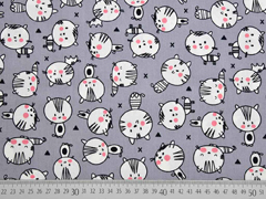 Baumwolle Katzen Happy Cats, grau