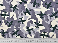 French Terry Sweat Flugzeuge Camouflage, grau