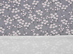 Modal French Terry Sweat Blumen Zweige, grau