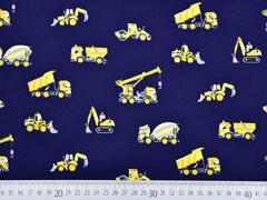 Baumwollstoff Fahrzeuge Baustelle, dunkelblau