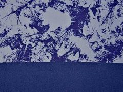 Softshell Stoff 3-schichtig Blätter, jeansblau