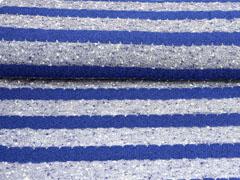 Strickstoff Blockstreifen leicht transparent, blau