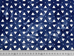 Viskosejersey Laser Cut Dreiecke Batik, dunkelblau