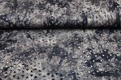 Viskosejersey Laser Cut Dreiecke Batik, schwarz