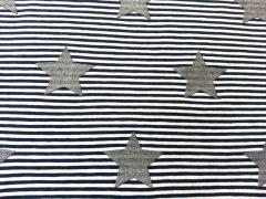 Ringeljersey mit Glitzersternen 5 cm, navy/weiss