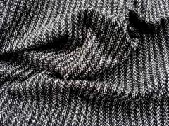 Wollstrickstoff mit Rippen Mantelstoff, schwarz weiß meliert