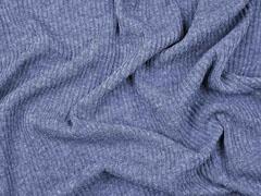 weicher Strickstoff Rippen, jeansblau meliert