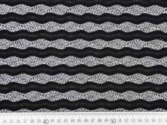 Jerseystoff Wellen Jacquard, schwarz weiss