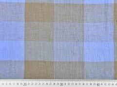 Leinen Stoff Karo Muster, taupe hellblau