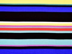 Viskosejersey Rippen bunte Streifen, schwarz
