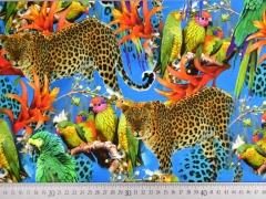 RESTSTÜCK 100 cm Jersey Digitaldruck Papagaien und Leoparden