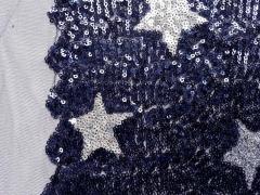 Cocktail Star Paillettenstoff, dunkelblau/silber