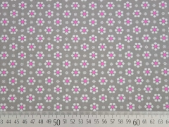 Baumwolle Blümchen, rosa/taupe