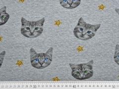 RESTSTÜCK 48 cm Jersey Katzen und Sterne, grau melange