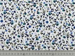 Baumwolle Blümchen, grün blau weiß
