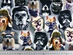 Jerseystoff Hunde mit Brillen Digitaldruck, schwarz weiß