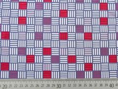 Baumwolle Quadrate, rot grau