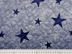 RESTSTÜCK 44 cm Steppstoff Teddy Doubleface Sterne, dunkelblau