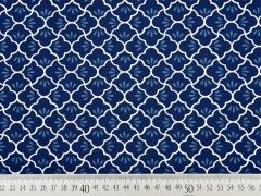 Baumwollstoff Muschelmuster, weiß indigoblau