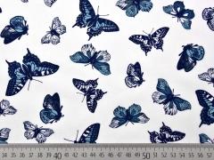 Baumwolle Schmetterlinge, indigoblau auf weiß