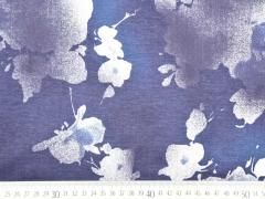 RESTSTÜCK 45 cm Sweatstoff French Terry Bumen, dunkelblau-weiß
