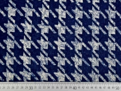 Fransenstrickstoff Hahnentritt, dunkelblau