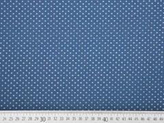 Jersey Punkte, grau auf jeansblau
