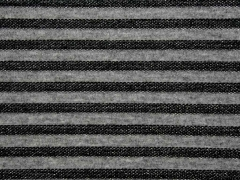 Strukturjersey Glitzerstreifen, grau schwarz