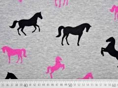Sweatstoff Pferde Glitzer, pink schwarz grau melange