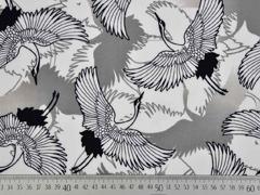 RESTSTÜCK 48 cm Viskose Kraniche Vögel weiss schwarz