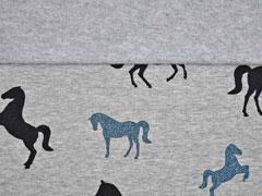angerauter Sweat Glitzer Pferde, jeansblau grau