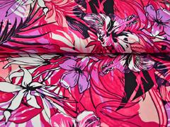 Viskosejersey Blumen, rosa rotpink