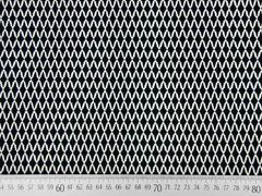 Stretchstoff Rauten Gitternetz, schwarz weiss