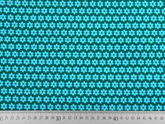 Feincord Blümchen, hellblau auf petrol