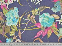Chiffon Blumen & Ranken dunkelblau beige