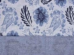Jacquard Strickjersey Blumen Blätter jeansblau