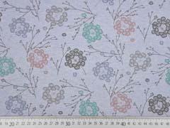 Organic Sweat Zweige Blumen, hellblau melange
