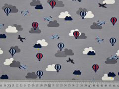 RESTSTÜCK 57 cm Jersey Flugzeuge Heißluftballons, grau