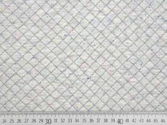 RESTSTÜCK 78 cm gesteppter Jersey Rauten, hellgrau bunte Punkte