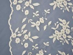 RESTSTÜCK 99 cm Organza Stickerei Blumen Bogenkante ecru