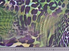 Chiffon Leoparden Muster, olivgrün lila