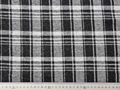 RESTSTÜCK 145 cm Jacquard Jersey Glencheck, schwarz meliert