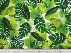 Jersey Digitaldruck Palmblätter grün