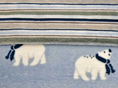 Doubleface Wellness Fleece Eisbären Streifen, hellblau