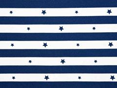 Jersey Blockstreifen 2 cm & Sterne , dunkelblau